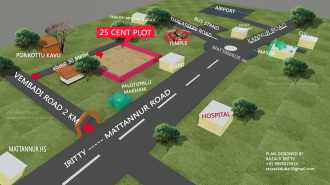 Residential Land for Sale in Kannur, Mattannur, Adjacent to kannur international airport premise, pariyaram,vembadi